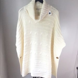 Gap cable knit turtleneck poncho, cream, size M/L